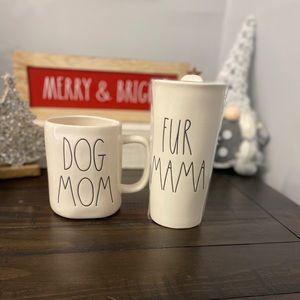 NWT Rae Dunn DOG MOM & FUR MAMA Mug/Cup Set